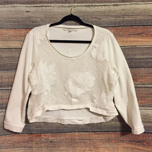 Lauren Conrad embroidered crop sweatshirt